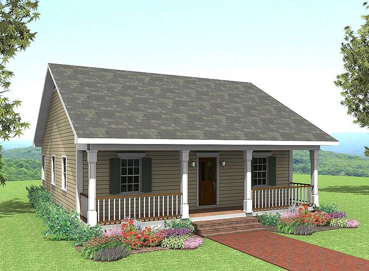 "<ul><li>This cute home plan lives larger than it is and has a 5'6"" deep porch across the front.</li><li>The large great room shares a snack bar with the kitchen. The laundry is close at hand with extra storage.</li><li>The large master bedroom has a walk-in closet. Bedroom 2 is large and contains a walk-in closet also.</li><li>The front porch is the perfect place to spend time with your family and friends.</li>..."
