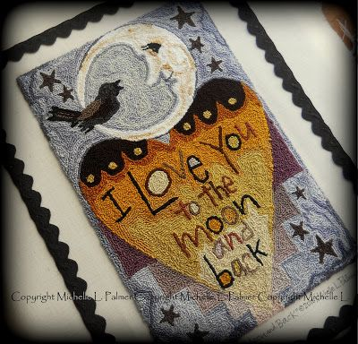 Michelle Palmer punch needle I love you to the moon and back. Starry night. Crescent moon black bird crow love heart DMC Floss fibers embroidery