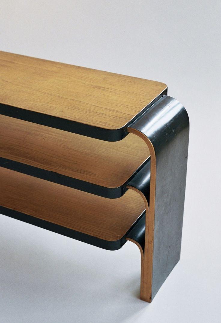 close up of Alvar Aalto shelf 111 - ebonised edges