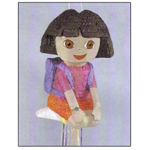 """Dora The Explorer Pull Pinata 17""""h x 11""""w.  All pinatas come empty.  We also sell pinata fillers and blindfolds."""