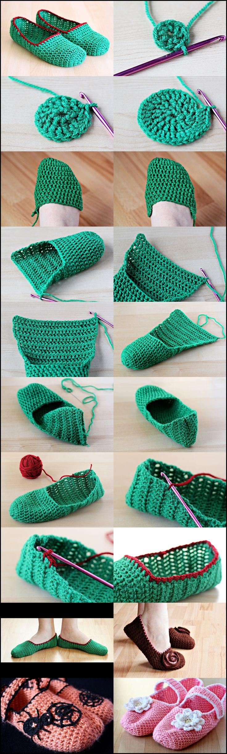 Crochet Slippers click here... http://zoomyummy.com/2011/01/21/how-to-make-simple-crochet-slippers/