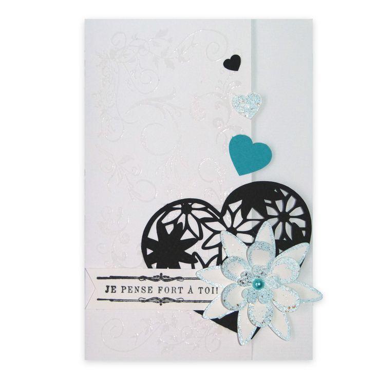 Carte Amour 'Je pense fort à toi' Fleurs et Coeurs, Collection Lovely Scrap, Lovely Carte