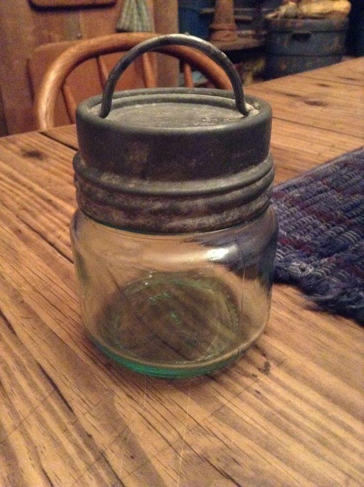 Early half pint blue canning jar unusual zinc lid handle star primitive rare