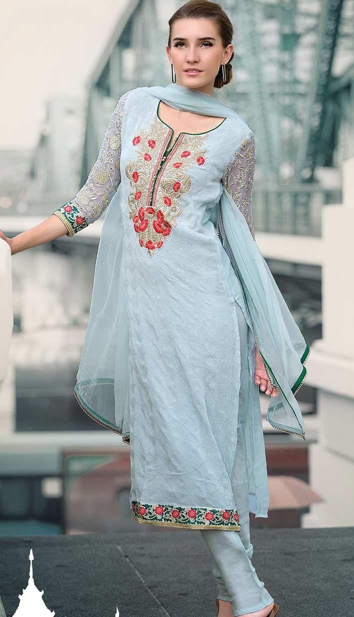 Buy Latest Beautiful Indian Turquoise Chiffon #PakistaniDresses Online.  #Price INR-  5743 Link- http://alturl.com/54vba