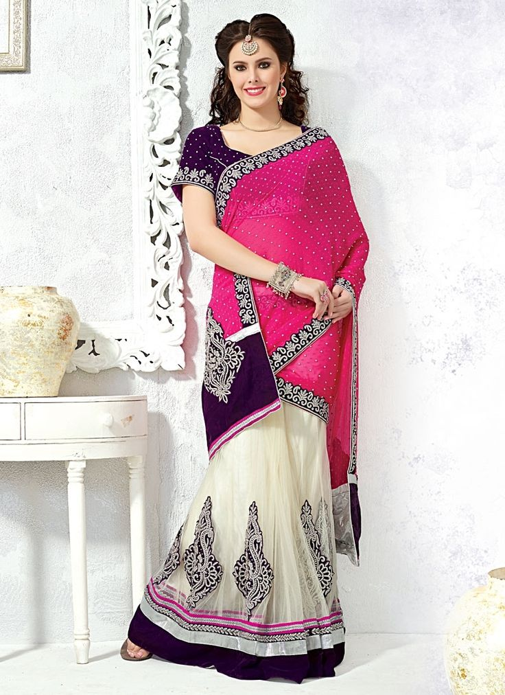 Glowing Faux Georgette Magenta and Off White Designer Saree