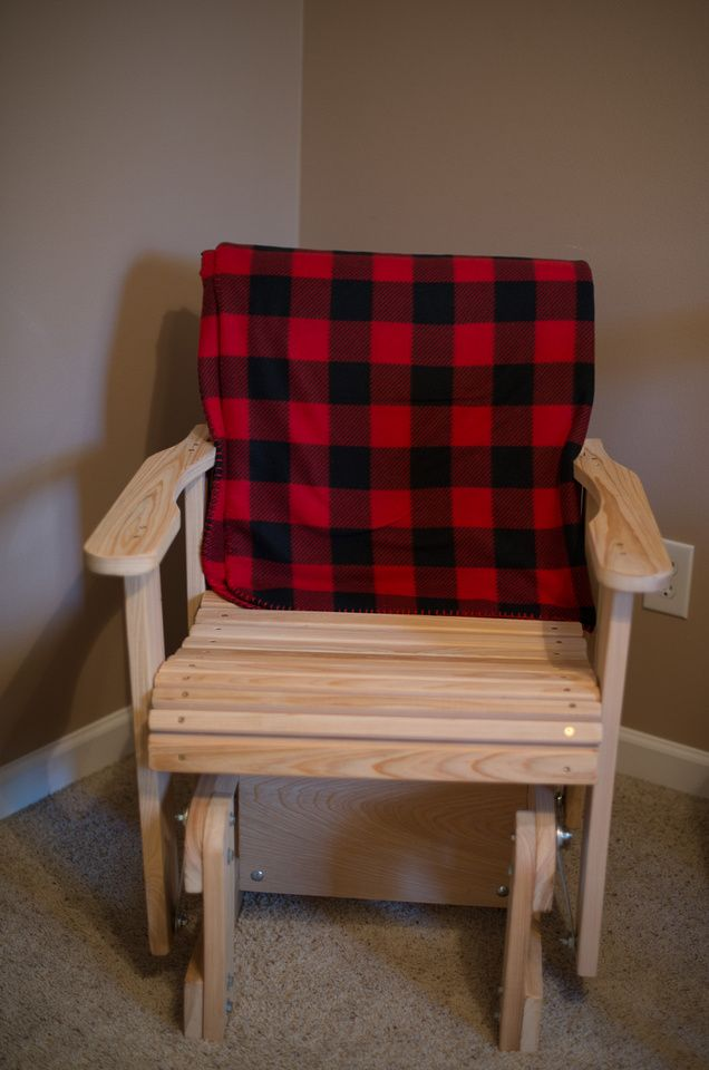 Wooden glider chair is perfect to rock a newborn. Once I move it out of his bedroom I plan to put it out on the porch so that I can continue to still use it. I decided to get this type of chair instead of the traditional glider.
