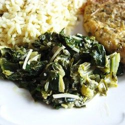 Use chicken broth instead of wine - Sauteed Swiss Chard with Parmesan Cheese - Allrecipes.com
