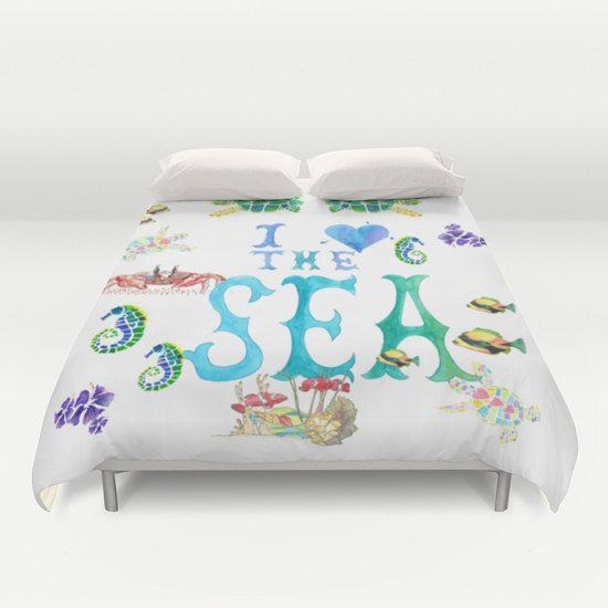 I Love The Sea Duvet Cover or Comforter, Ocean, surf art duvet or comforter, aqua, blue, teal, teen, sea turtle, beautiful, bedroom decor