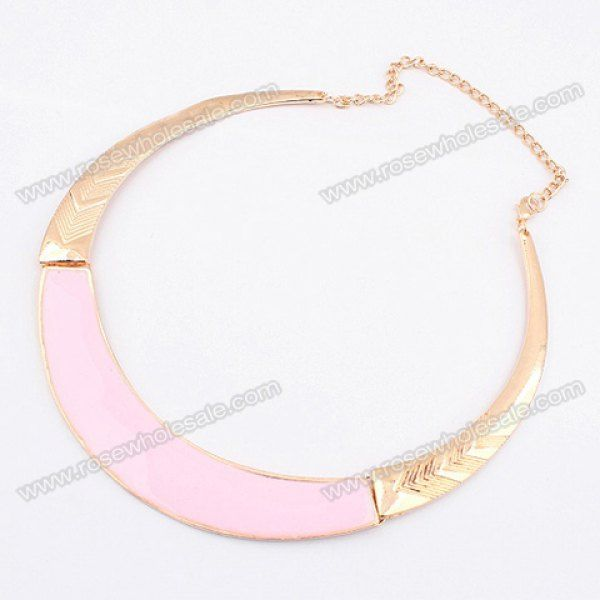 Wholesale Simple Chic Style Solid Color Camber Embellished Alloy Choker Necklace For Women (PINK), Necklaces - Rosewholesale.com