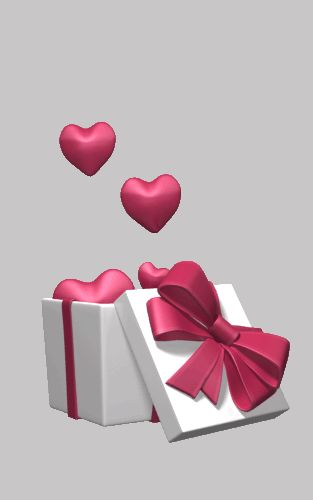 Hearts fly out of box anim