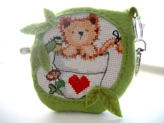 Cat key chain animal key chaincat jewelryCross by Monikagifts