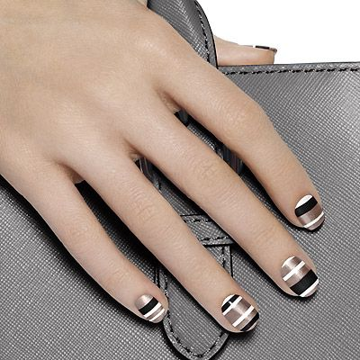 between the lines by essie - earn your stripes with this power manicure in bold graphic shades of gorgeous gray, snowy white and jet black cream.