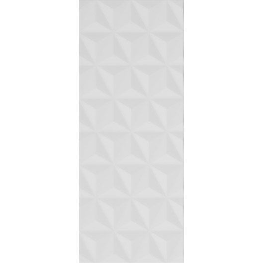 Carrelage mural Décor Loft facette en faïence, blanc n°0, 20 x 50.2 cm