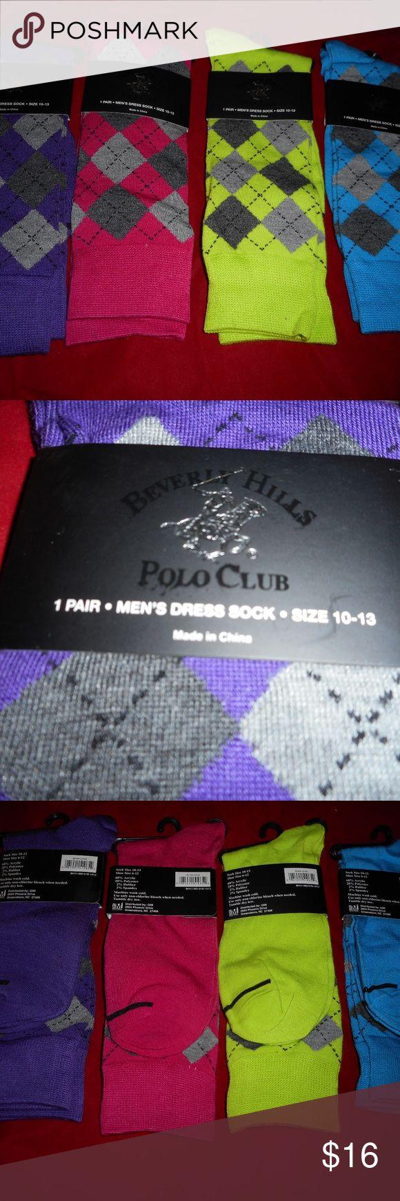 4 Pairs Beverly Hills Polo Club Mens Dress Socks Beverly Hills Polo Club 4 Pairs Mens Acrylic Dress Sock  Sock size 10-13 Fits Shoe Size 6-12 64% Acrylic 33% Polyester 2% Rubber 1% Spandex Beverly Hills Polo Club Underwear & Socks Dress Socks