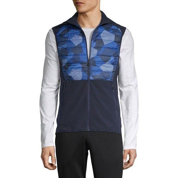 J. Lindeberg Performance Vest ($130) ❤ liked on Polyvore featuring men's fashion, men's clothing, men's outerwear, men's vests, mens vest outerwear, mens quilted vest, mens blue vest and mens vest
