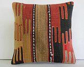 "16""Bohemian pillow cover burlap decorative pillow decorative throw pillow worn coral kilim pillow oriental traditional cushion cover black"