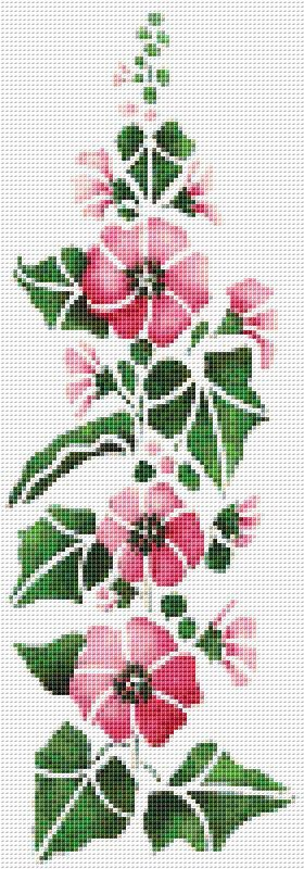 Pink Hollyhock Cross Stitch Pattern Flower Floral Wall Art Home Decor    PDF PATTERN ONLY    I just love the hollyhocks that bloom in the northwest, and these towering beautiful flowers are no exception. This pattern is full of gorgeous pinks and big, fat blossoms. This wall hanging is long and narrow, which makes it perfect for those little half walls in the kitchen that are never quite big enough for regular artwork. Fabric: 14 count Aida   Counted Cross Stitch   Stitches: 70 x 200…