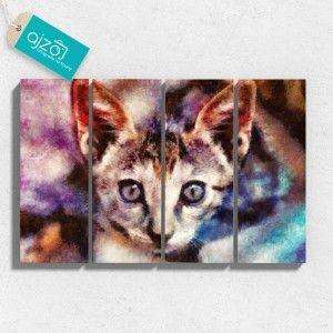 Obraz na płótnie imbir czteroczęściowy. #obraz #malarstwo #sztuka #kot #malowany #reprodukcja