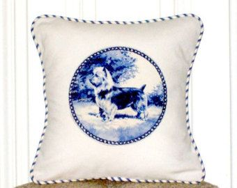 """shabby chic, feed sack, french country, delft Australian terrier graphic with ticking stripe welting 14"""" x 14"""" pillow sham."""