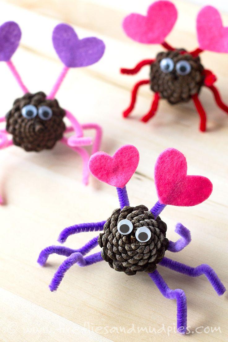 Valentines day crafts for children - Pine Cone Love Bugs Kids Valentinesvalentine Heartsvalentine Day Craftsvalentine