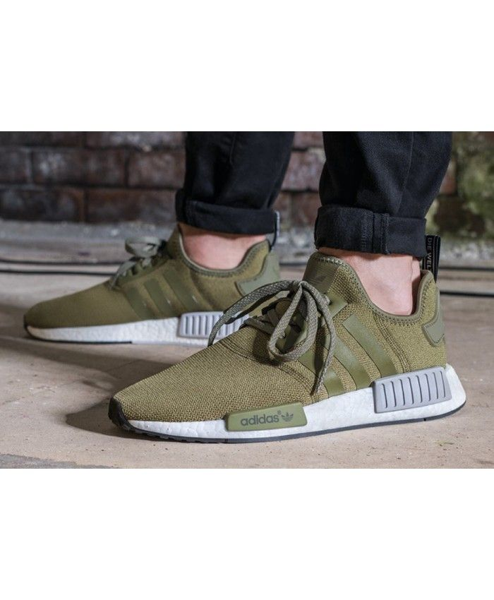 Adidas Mens NMD Olive Green And White