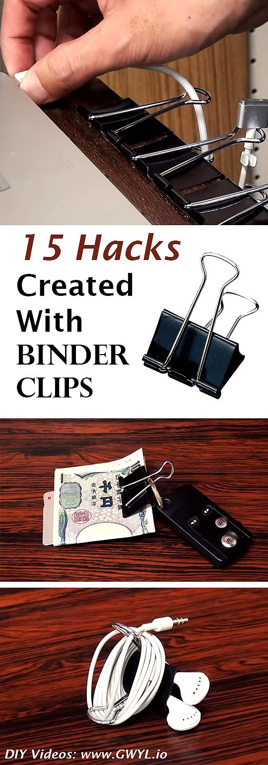 It turns out, these common office supplies are not just made for binding papers or sheets altogether. See video here: http://gwyl.io/15-hacks-created-binder-clips/