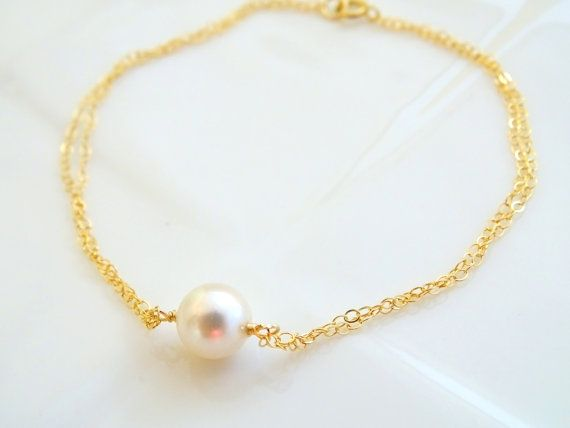 Pearl Bracelet Gold Bracelet for Women, Delicate Bracelet, Single Pearl, Simple Jewelry, Birthday Gifts for Her, 21st Birthday Gift for Wife