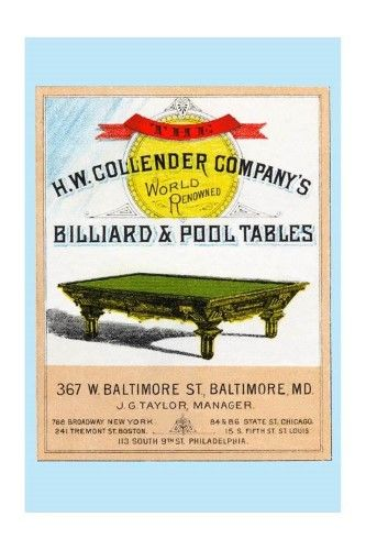 The H W Collender Company S World Renown Billiard Pool Blue Tables Print Unstretched Canvas Giclee 20x30 Pool Table Billiard Pool Table Billiards Pool