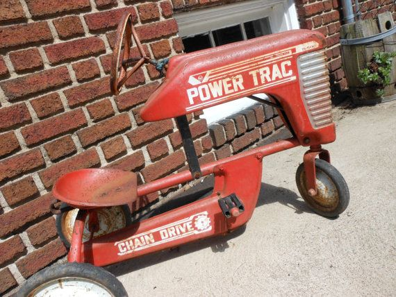 Peddle car tractor Vintage peddle car Red by buyvintagesupplies, $425.00