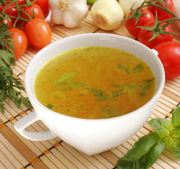 Healing Broth #Soup with carrots, sweet potatoes, celery, onions, parsley, shiitake, tomatoes, garlic, fresh ginger root, turmeric root, water, chili pepper