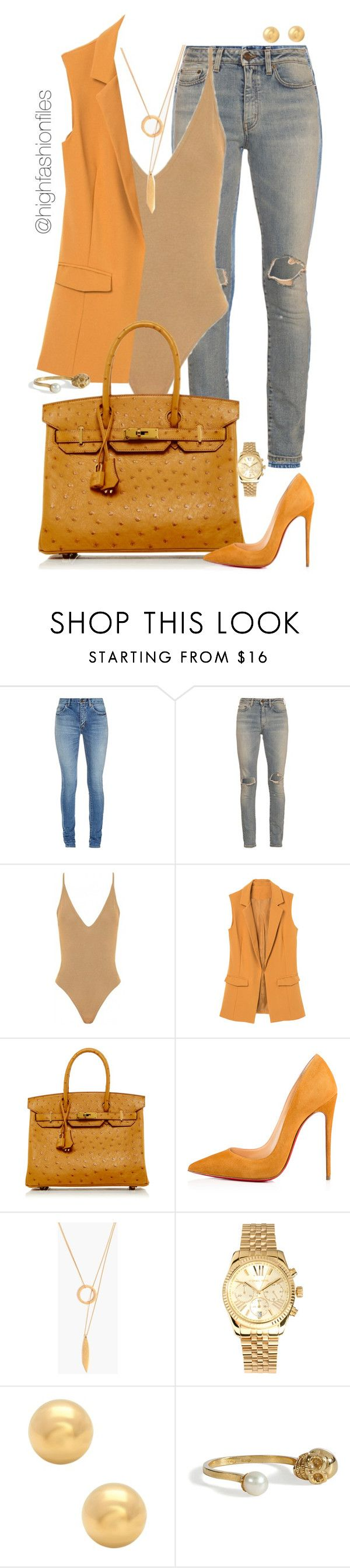 """""""Mustard"""" by highfashionfiles ❤ liked on Polyvore featuring Yves Saint Laurent, Hermès, Christian Louboutin, Madewell, Michael Kors and Delfina Delettrez"""