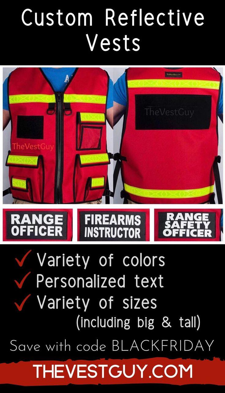 Custom reflective vests for range officer firearms