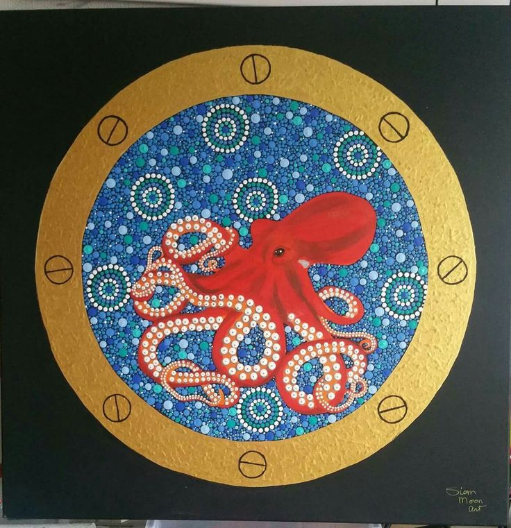 Octopus 0.60m x 0.60m. Acrylverf op canvas Siem Moon Art