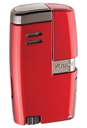 XIKAR Vitara Double Jet Flame Cigar Lighter with 7mm Cigar Punch in Daytona Red Finish