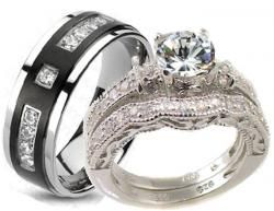 his & her matching wedding band sets cheap