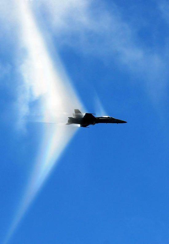 F-18A F-18 Hornet braking the sonic barrier.
