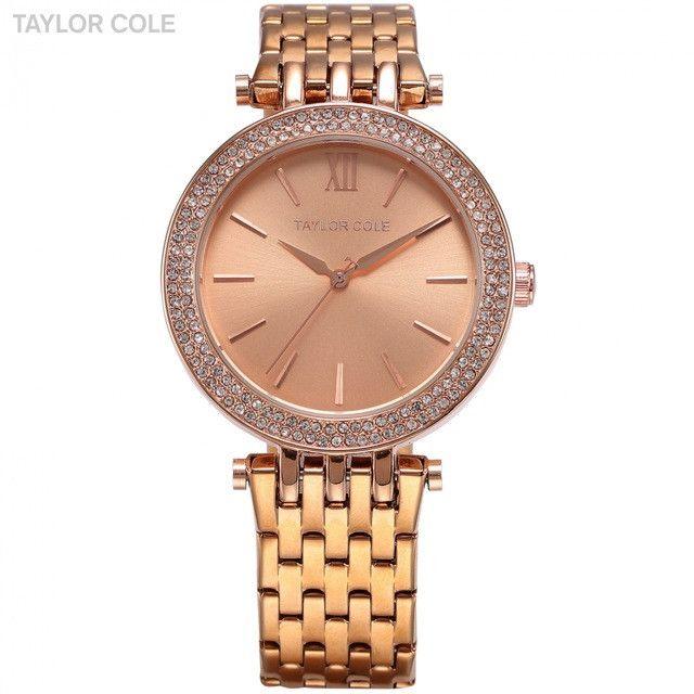 Taylor Cole Stainless Steel Bracelet Strap Lady Rose Gold Bling Crystal Bezel Case Quartz Clock Women Dress Wrist Watches /TC002