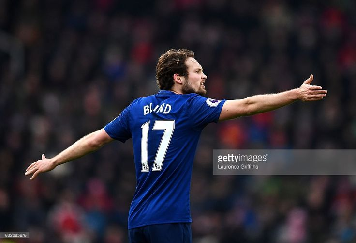 Daley Blind of Manchester United reacts during the Premier League match between Stoke City and Manchester United at Bet365 Stadium on January 21, 2017 in Stoke on Trent, England.