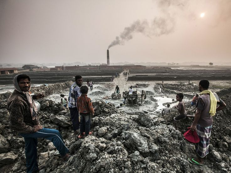 A Bangladeshi factory where poor workers make between 50,000 and 60,000 bricks a day from mud