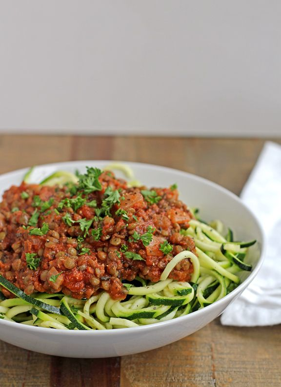 Top those zucchini noodles with a great homemade sauce! Zucchini Spaghetti with Easy Lentil Marinara - Vegan