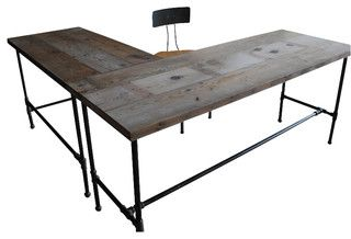 Modern Industry L Shape Reclaimed Wood Desk - contemporary - desks - by UrbanWood Goods