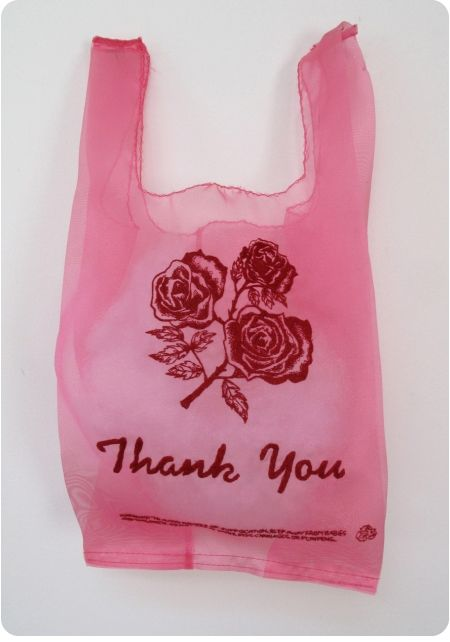 Made from organza and embroidery. This only looks like a dollar store plastic bag. By Lauren DiCioccio.