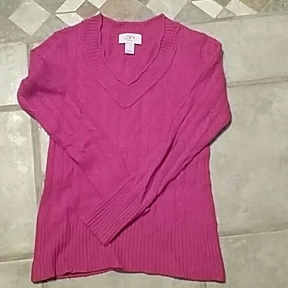 Loft  petite sweater Fushica colored sweater, v neck. Rayon, wool and cotton. Some pilling. LOFT Sweaters V-Necks