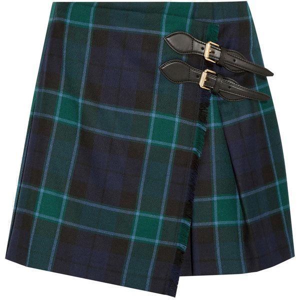 Burberry Brit Pleated tartan wool mini skirt (£295) ❤ liked on Polyvore featuring skirts, mini skirts, bottoms, burberry, tartan miniskirts, pleated skirt, short plaid skirt, pleated mini skirt and wool mini skirt
