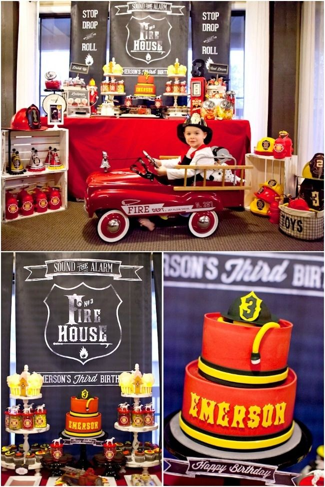 Fire Truck Birthday Party Ideas www.spaceshipsandlaserbeams.com. Cool set-up. Chalkboard backdrop. Stacked crates.