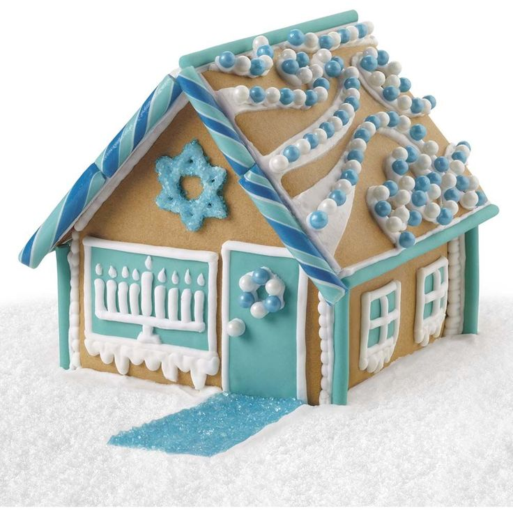 Celebrate this special time of year as you decorate a gingerbread Hanukkah house.  This kit includes the colors of the holiday in fondant, candy and sugar to make decorating a Hanukkah gingerbread house a fun family activity!