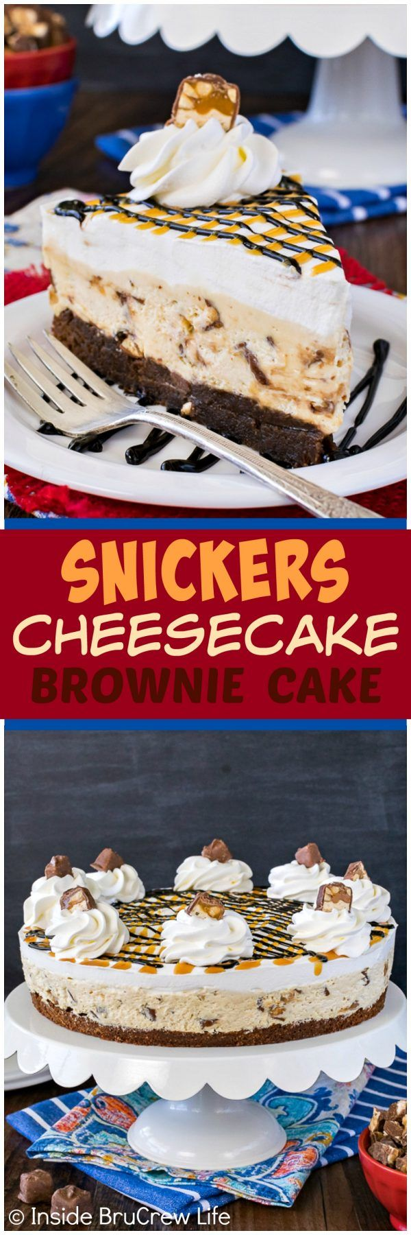 Snickers Cheesecake Brownie Cake - caramel cheesecake loaded with candy bars adds a fun layer to this easy homemade brownie cake. Easy dessert recipe for any party!