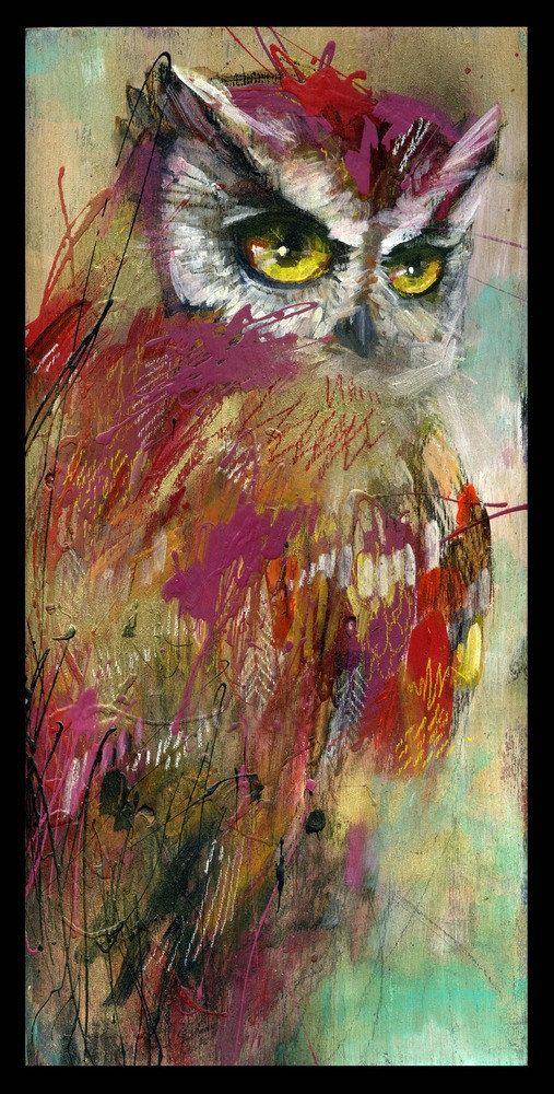 Impresión digital de pintura original de buho. 9 por 18 impreso en la acción de cubierta de 100 lb con borde negro de 1/4.  También disponible como un lienzo Giclée impresión en: https://www.etsy.com/listing/171650610/owl-art-canvas-reproduction-with-hand?
