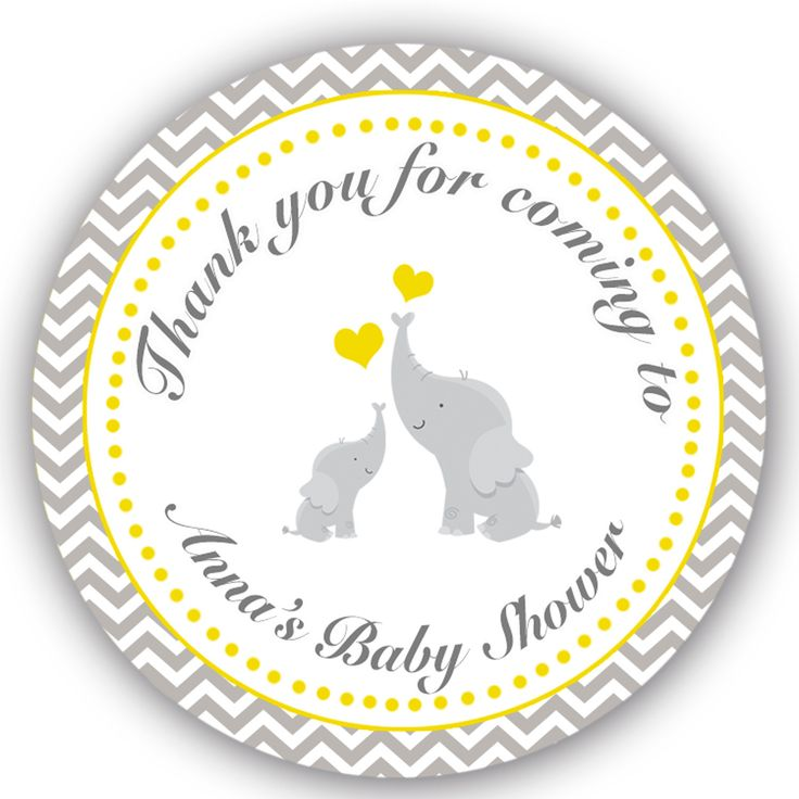 40 Stickers Thank You Labels Elephant Baby Shower Favor