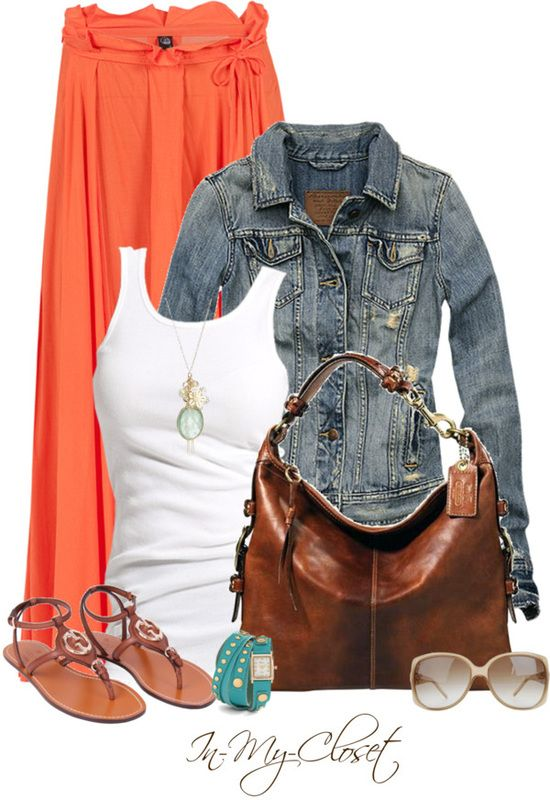 Coral / orange floor length skirt paired with a white tank and denim jacket. A soft leather bag neutralizes the brightness. Aqua blue accessories work well with this color.